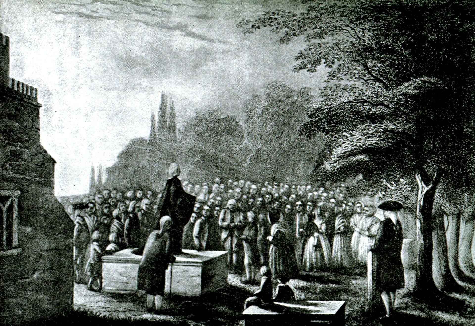 John Wesley pregando no túmulo do seu pai
